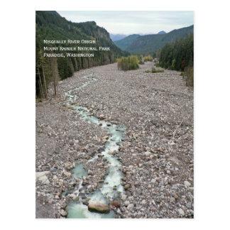 Río de Nisqually postal del Monte Rainier