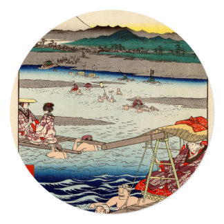 """Río de Ōi entre Suruga y las provincias de Tōtōmi Invitación 5.25"""" X 5.25"""""""