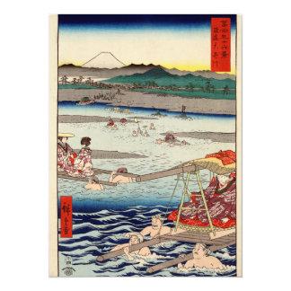 """Río de Ōi entre Suruga y las provincias de Tōtōmi Invitación 5.5"""" X 7.5"""""""