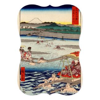 """Río de Ōi entre Suruga y las provincias de Tōtōmi Invitación 5"""" X 7"""""""