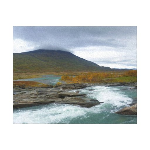 Río de precipitación de la montaña impresión de lienzo