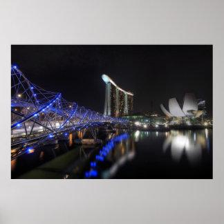 Río de Singapur del puente de la hélice en el Póster