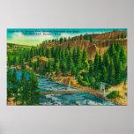 Río de Spokane y puente del pie de la suspensión Poster