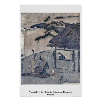 Río de Tama en Chofu por Kitagawa, Utamaro Ukiyoe Posters