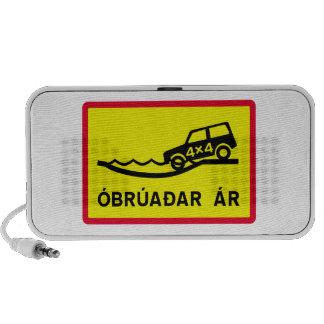 Río de Unbridged, señal de tráfico, Islandia Notebook Altavoces