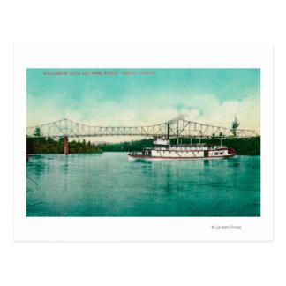 Río de Willamette y puente del acero en Albany Postal