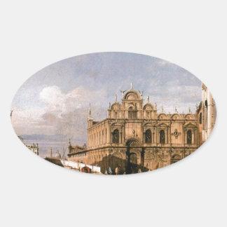 Rio dei Mendicanti and the Scuola di San Marco Oval Sticker
