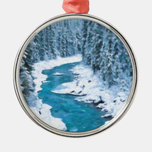 río del arte adorno navideño redondo de metal