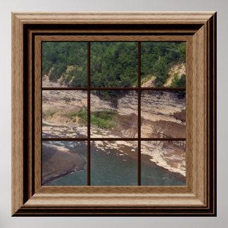 Río del cañón falso del poster de la ventana