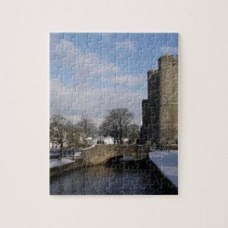 Río del castillo y foto de la nieve puzzle con fotos