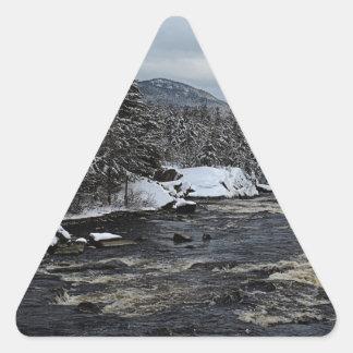 Río del invierno pegatina triangular