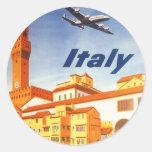 Río del puente de Florencia Firenze Italia del Etiqueta Redonda