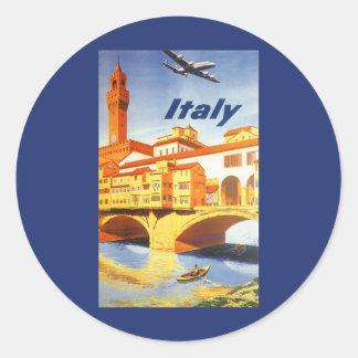 Río del puente de Florencia Firenze Italia del Pegatina Redonda