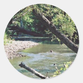 Río del remache escénico etiqueta redonda