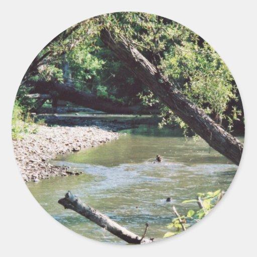 Río del remache escénico pegatina redonda