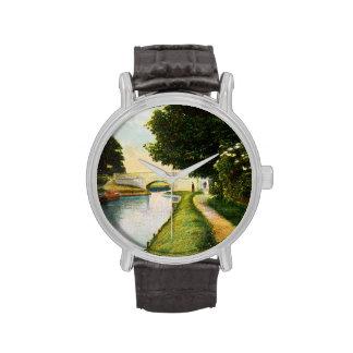 Río del vintage y ejemplo románticos del puente reloj de mano