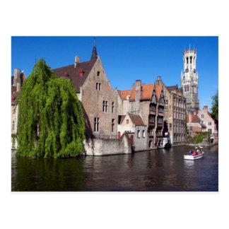 Río en Brujas, Bélgica Postal
