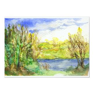 Río en la pintura de paisaje de la acuarela del comunicado