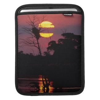 Río en la puesta del sol, parque nacional de Sabi Fundas Para iPads