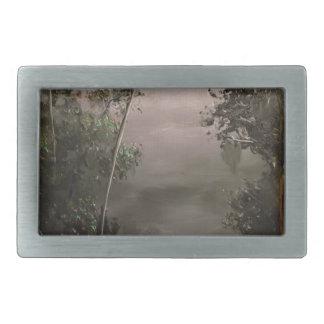 Río en niebla hebilla cinturon rectangular
