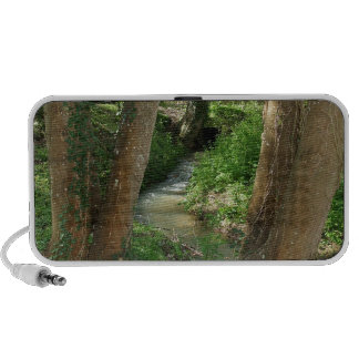 Río entre los árboles en un bosque portátil altavoz