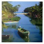 Río escénico cerca de Ocho Rios en Jamaica Azulejo Cuadrado Grande