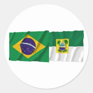 Rio Grande do Norte & Brazil Waving Flags Classic Round Sticker