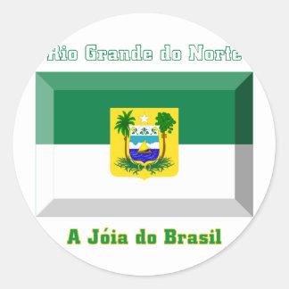 Rio Grande do Norte Flag Gem Classic Round Sticker