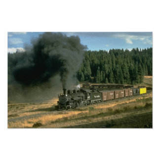 Rio Grande freight rounds Tanglefoot Curve near Cu Poster