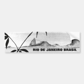 Rio landscape in b&w car bumper sticker