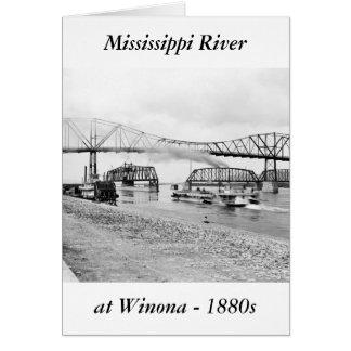 Río Misisipi en Winona, 1880s Tarjeta De Felicitación