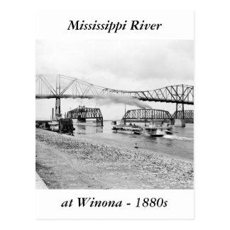 Río Misisipi en Winona, 1880s Tarjeta Postal