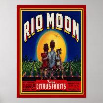"""Rio Moon"" 1940's Citrus Fruit Ad-12x16 Poster"