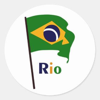Rio, multicolored text classic round sticker