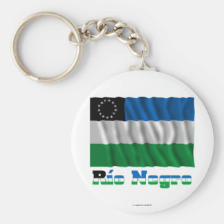 Río Negro waving flag with name Keychain