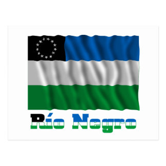Río Negro waving flag with name Postcard