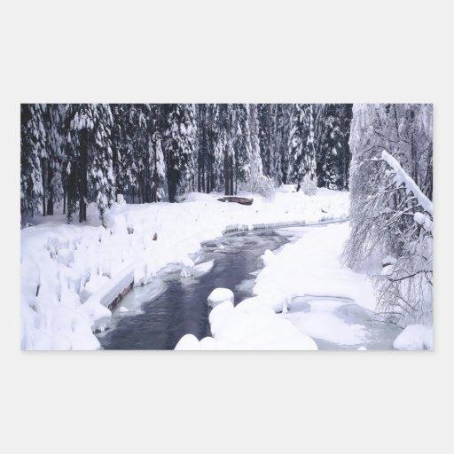Río Nevado del invierno de la naturaleza Pegatina Rectangular