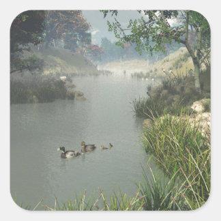 Río perezoso pegatina cuadrada