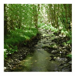 Río que atraviesa arbolado fotoescultura vertical