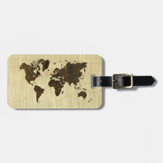 Rio Rosewood and Curly Maple World Map.jpg Bag Tag