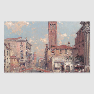 Rio Santa Barnaba, Venice by Franz Richard Rectangular Sticker