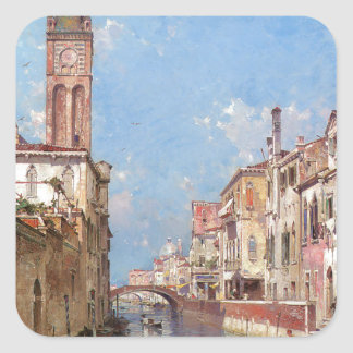 Rio Santa Barnaba, Venice by Franz Richard Square Sticker