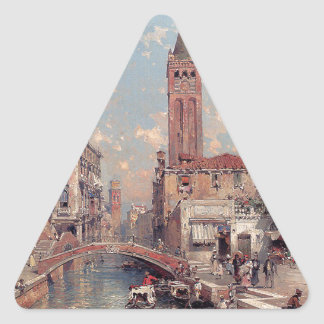 Rio Santa Barnaba, Venice by Franz Richard Triangle Sticker