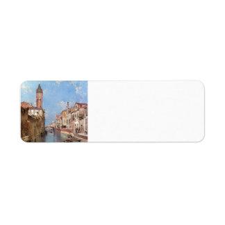 Rio Santa Barnaba, Venice by Franz Unterberger Custom Return Address Label
