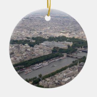 Río Sena, París - ornamento del árbol de navidad Adorno Redondo De Cerámica