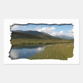 Río tranquilo pegatina rectangular