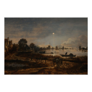 Río Van der Neer del paisaje del poster