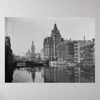 Río y Dowtown de Milwaukee Impresiones