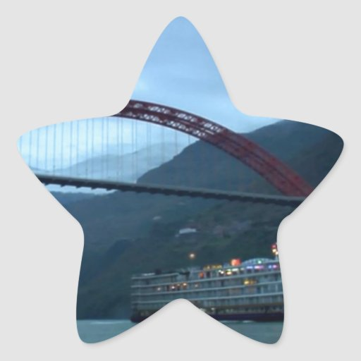 Río YANGTZE - fotografía del vintage de China Pegatina En Forma De Estrella
