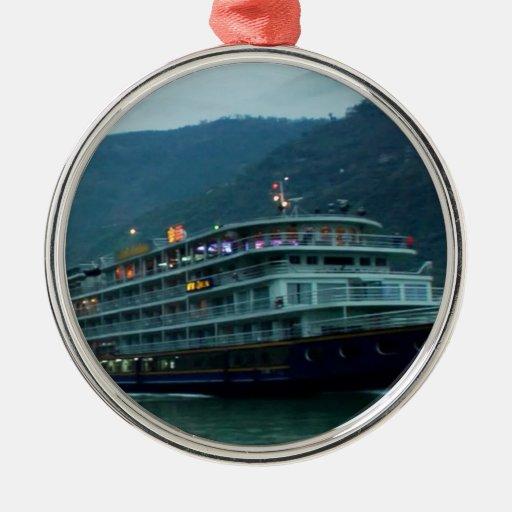 Río YANGTZE - TRAVESÍA del BARCO del vintage de Ch Ornamentos De Reyes Magos
